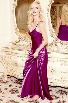 Live out your prime here and now with the Sleek of Success Magenta Satin Maxi Dress! Maxi dress has a triangle bodice, adjustable spaghetti straps and A-line skirt. Satin Dresses, Sexy Dresses, Dress Outfits, Prom Dresses, Fitness Workouts, Satin Slip, Beautiful Lingerie, Sexy Lingerie, Stunning Dresses