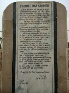 A tribute to Lt Col Akram Raja Shaheed, HJ by the opposing Indian Commander Lt Col V P Airy, inscribed onto a plaque at 35 FF Monument at Jarpal.