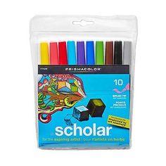 Prismacolor Scholar Water-Based Markers Brush Tip Set of 10 Asst. Colors 1774268