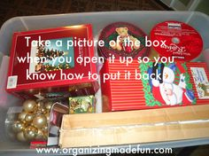"""When you open a big box of decorations, take a picture of what's inside so you can quickly remember how to put everything back. 22 Holiday Decor Hacks That'll Make You Say """"Why Didn't I Know About These Sooner?"""