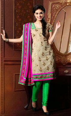 USD 27.94 Beige Embroidered Chanderi Churidar Suit 40761