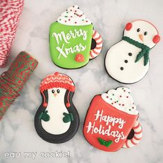 I enjoy making winter themed cookies. I like to pretend that it's winter here. Christmas And New Year, All Things Christmas, Cake Cookies, Christmas Cookies, Mavis, Winter Theme, Merry Xmas, Tis The Season, Cookie Decorating