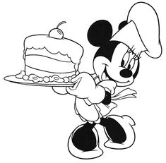 Minnie Serving A Birthday Cake In Mickey Mouse Clubhouse Coloring Page : Kids Play Color Cupcake Coloring Pages, Minnie Mouse Coloring Pages, Birthday Coloring Pages, Online Coloring Pages, Disney Coloring Pages, Coloring Pages For Kids, Coloring Books, Mickey Mouse E Amigos, Mickey E Minie