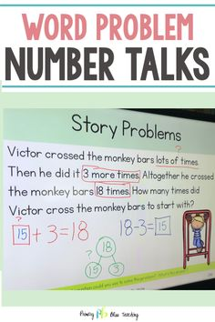 Word problems have never been easier to teach! These number talks focus on addition and subtraction within 20 using story problems. They are aligned to the common core standards and have unknowns in all positions. Our students LOVE these and we know yours will too. Grab your set today.  #wordproblemsfirstgrade #additionandsubtractionwordproblems #storyproblemsfirstgrade First Grade Teachers, First Grade Math, Math Lesson Plans, Math Lessons, Digital Word, Number Talks, Math Talk, Daily Math, Math Intervention