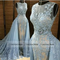 2016 Fashion Sky Blue Real Photo Jewel Neckline Appliqued Beaded Mermaid Evening Dresses With Detachable Train Trumpet Occasion Prom Gown Discount Prom Dress Fashion Prom Dresses From Gaogao8899, $314.14| Dhgate.Com
