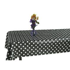 Ottomanson Vinyl Polka Dot Design 55 inch X 102 inch Indoor & Outdoor Non-Woven Backing Tablecloth, Black