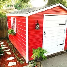 Metal Garden Shed With Red Painted Walls And White Door shed design shed diy shed ideas shed organization shed plans Pool Shed, Backyard Sheds, Outdoor Sheds, Garden Sheds, Metal Storage Sheds, Metal Shed, Rusty Metal, Metal Building Homes, Building A Shed