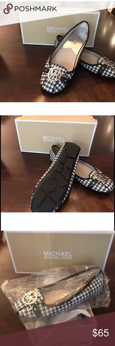 Micheal Kors Houndstooth Shoes Houndstooth MK Shoes ballet style shoes with silver MK medallion. Michael Kors Shoes Flats & Loafers
