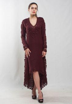 Marsala lace floor dress KNIT maxi Dress long sleeves maxi Dress Crochet bordeaux Dress evening dress cocktail wine Dress floor maxi Dress by CrochetDressTalita on Etsy