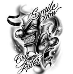 7 Best Laugh Now Cry Later Female Faces Tattoo Design Images Arm
