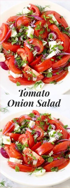 Tomato Recipes - Simple tomato onion salad recipe Mediterranean style with lots of fresh oregano, chives, capers and feta cheese, dressed in a lovely olive oil and red wine vinegar dressing! Salad Bar, Soup And Salad, Tomato And Onion Salad, Cooking Recipes, Healthy Recipes, Summer Salads, Veggies, Healthy Eating, Lunch