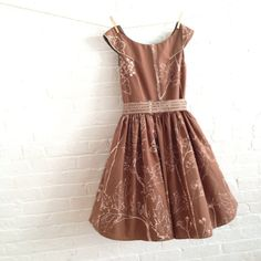 Etching in brown Tea Dress by sohomode on Etsy, $164.00