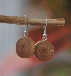 larch earrings • handmade wooden earrings