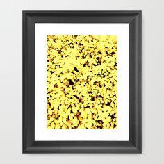 Yellow Pastel Leaves Framed Art Print