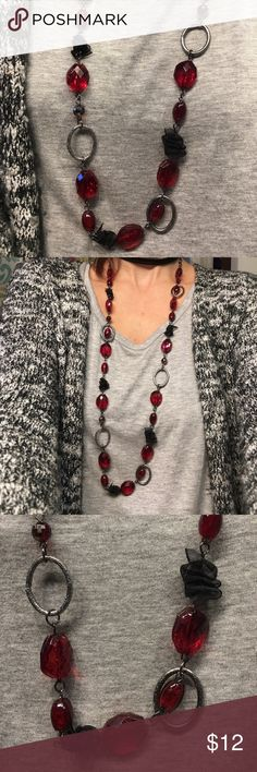 Necklace Beautiful on trend beaded and linked necklace with adorable ribbon detail. This is a wine red in color and a silver pewter color chain NWT bought 2 to layer and only wore on. Has an adjustable neck! Wear short or long. Bundle and save even more with this item!! Fashion Bug Jewelry Necklaces
