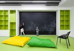Emil Dervish design functional and stylish interior for modern Language School Underhub, in Kiev downtown #school #blackboard #wall
