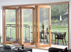 Sliding French doors or French sliding doors is perfect combination of design and style. combine sliding door tech and keep the elegance style of a traditional French doors Sliding French Doors, Sliding Patio Doors, Folding Doors, External Bifold Doors, Wooden Bifold Doors, External French Doors, Concertina Doors, Door Design, House Design