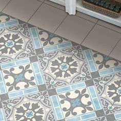 The SomerTile 17.63x17.63-inch Jive Azul Ceramic Floor and Wall Tile offers a scored, pastel colored tile that has a traditionally intricate design. Enjoy this tile in your living room or bedroom and