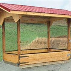 Covered Wooden Hay Feeders for Horses