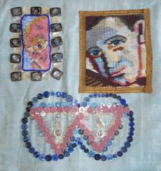 """Eye of the Beholder. My ATA colleagues proposed a """"SELFIE"""" project. I decided to oblige: top right: in the style of Pierre & Gilles, a self portrait with slight distortion like an ICON; top left: a selfie via Skype, done with beads, surrounded by the eye of the elder, as in polynesian art + the Gay holocaust symbol + infinity."""