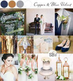 10 Autumn/Fall Colour Palettes: Copper & Blue Velvet   SouthBound Bride   Full credits & links: http://www.southboundbride.com/10-autumn-wedding-colour-palettes