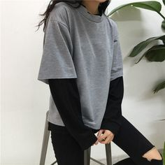 2019 Autumn Winter Sweatshirt Women 2 Pieces Hoodies O-Neck Patchwork Hoody Long Sleeve Pullover Sweatshirts Casual Loose Tops Edgy Outfits, Korean Outfits, Retro Outfits, Mode Outfits, Cute Casual Outfits, Grunge Outfits, Fashion Outfits, Fashion Ideas, Style Fashion