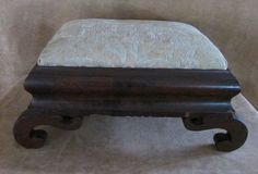 Antique Wooden Foot Stool horse hair stuffing upholstered wood victorian #Victorian