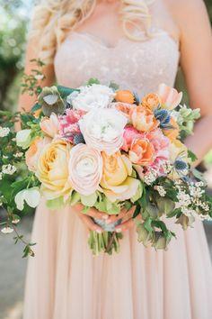 Breathtaking orange, pink and greens in this summer bouquet: http://www.stylemepretty.com/california-weddings/ojai/2015/08/10/romantic-ojai-valley-inn-wedding/ | Photography: Jillian Rose - http://www.jillianrosephotography.com/