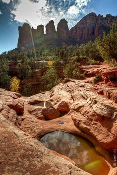 Light Shines on the 7 Pools by rjh.designs, via Flickr - The Seven Sacred Pools at Sedona, Arizona