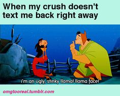 I'm an ugly, stinky llama! llama face! - when my crush doesn't text me back right away