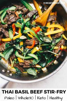Paleo Thai Basil Beef Stir-Fry with crunchy bell peppers in a savory and naturally sweet Keto stir-fry sauce. Pair this basil steak stir-fry with riced broccoli/cauliflower mashed potatoes or lightly sautéed zucchini noodles for a bold flavored Healthy Thai Recipes, Paleo Recipes, Asian Recipes, Real Food Recipes, Cooking Recipes, Ethnic Recipes, Thai Basil Recipes, Paleo Food, Whole 30 Recipes