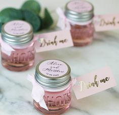 Personalised Shot Jars filled with Pink Gin or Limoncello For Wedding – Hearth and Heritage Alcohol Wedding Favors, Wedding Favours Luxury, Homemade Wedding Favors, Rustic Wedding Favors, Beach Wedding Favors, Wedding Favors For Guests, Personalized Wedding Favors, Wedding Ideas, Wedding Fun