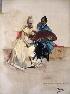 Edward Arthur Walton (1860–1922), Artist, with his Fiancée Helen Law or Henderson (1859–1945), Later Mrs Edward Arthur Walton, as Hokusai and the Butterfly by John Lavery Date painted: 1889