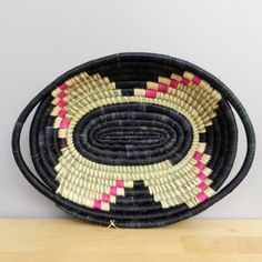 Handwoven Grass Bowl, Handwoven Basket, Black and Fuschia Basket, Wall Art, African Basket, Home Decor, Made in Rwanda, Natural Grass Bowl