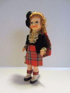 Vintage Scottish Doll in Traditional Tartan Costume