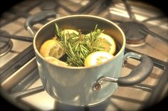Fresh and clean smelling house. Super simple- fill a small pot with water, add a sliced lemon, 2-3 sprigs of rosemary, and 3 tablespoons of vanilla extract.