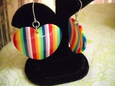 Dangling Mod style Lucite Heart shaped Earrings by vintagefinds61, $14.00