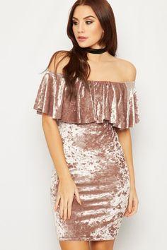 Samira Bardot Velour Mini Dress   WearAll