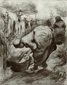 Vincent van Gogh: Peasant Woman at the Washtub and Peasant Woman Hanging Up the Laundry  Nuenen: second half August, 1885 (Private collection)