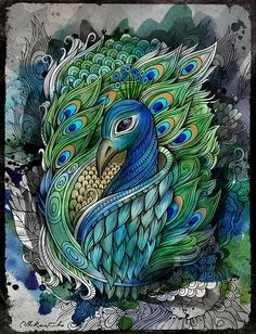 Peacock Art by balabolka, Peacock Drawing, Peacock Tattoo, Peacock Painting, Tattoo Bird, Peacock Artwork, Pfau Tattoo, Art Sketches, Art Drawings, Peacock Images