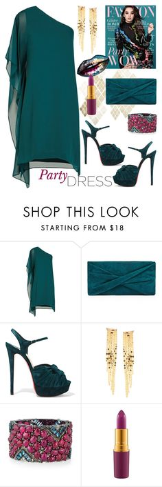 """Perfect Party Dress"" by sweet-designs ❤ liked on Polyvore featuring BCBGMAXAZRIA, Reiss, Christian Louboutin, Lana, Bavna and MAC Cosmetics"