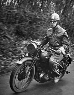 A British dispatch rider speeds to his destination somewhere in England, January1941. (Photo by William Vandivert//Time Life Pictures)