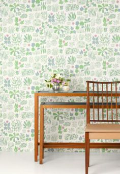 Josef Frank equipped himself with books about herbs and flowers. Then he created beautiful print compositions such as the Söndagsmorgon wallpaper. - Wallpaper Söndagsmorgon, Non-Woven, Söndagsmorgon, Pink, Josef Frank Decor, Accent Wall, Interior Inspiration, Home Goods Decor, Wallpaper, Vintage Wallpaper, Scandinavian Design, Chic Wallpaper, Josef Frank Wallpaper