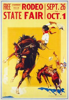 Free Strawberry Roan Rodeo State Fair, Sept. 26 to Oct. 1. Published in the 1930's but we are not sure of the state. Poster for rodeo showingåÊone cowgirl on bucking bronco and another cowgirl being t