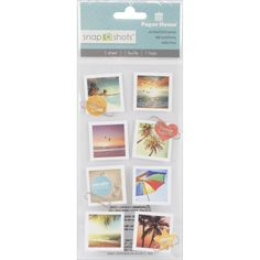 Retro Beach Photo STICKERS - Paper House Snap Shots Stickers - Tropical Beach Stickers - Ocean Beach Stickers - Summer Theme Stickers by OneDayLongAgo on Etsy