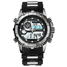 SPOTALEN Men's Digital Sports Watches, Military Multi-functional Black Waterproof Wrist Watches with LED  Quartz movement--High Quality Imported Japanese quartz movement,Keep Precise Time and Save Energy Friendly  Waterproof--Water Resistance for Daily life ,NOT suitable for Diving ,Swimming and Bathing  Design for sport-- shock resistant, Date and Day,Backlight,Stopwatch,24Hours,Alarm Function make it perfect for all kind of sport and daily use  Watch band--Environmental protection si...