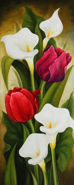 Signed Still Life Painting of Tulips and Calla Lilies, 'Tulips and Calla Lilies . - Signed Still Life Painting of Tulips and Calla Lilies, 'Tulips and Calla Lilies II' – - Art Floral, Tulip Painting, Painting Tips, Plant Drawing, Calla Lily, Cala Lilies, Flower Wallpaper, Beauty Art, Flower Art
