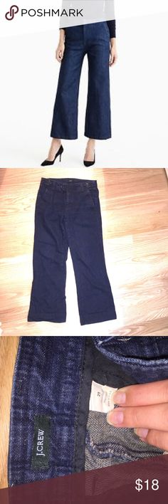 "[HP 8/24] JCrew Wide Leg Jeans Wide leg jeans from JCrew / in perfect condition apart from small distressed area on the back of hem (see pictures) / inseam: 29.5"" length: 38.25"" waist: 33"" / feel free to ask questions or make an offer! 😊 J. Crew Jeans Flare & Wide Leg"