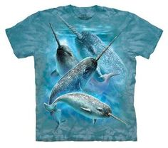 £21.99 Narwhal T-Shirt by The Mountain. Beautiful unicorns of the sea. Magical! A stunning picture printed across the chest on a top quality cotton T Shirt. The Mountain T Shirts are 100% cotton Tees printed with environmentally friendly water based inks. Images can be ironed over without any problems.