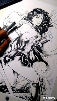 Wonder Woman pen and pencil art Wonder Woman Drawing, Wonder Woman Art, Wonder Woman Comic, Superman Wonder Woman, Comic Book Drawing, Comic Books Art, Comic Art, Arte Dc Comics, Manga Comics